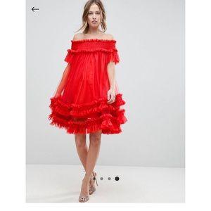 Asos Tulle Bardot mini Dress